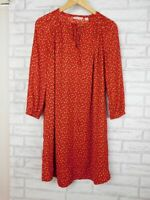Country Road Shift dress Red, black, beige print Sz 10 3/4 sleeves