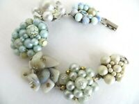 Pastel Blue  Green Hand Made Chunky Bracelet  Made From Vintage Earrings