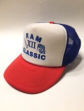 411a88e4 Vintage Bassmaster Ram Classic 1989 Otto Trucker Hat Mesh Snap Red White  Blue