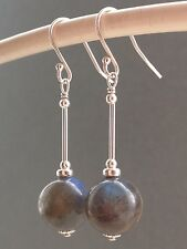 Beautiful Round Labradorite Gemstone Sterling Silver Drop Earrings