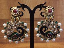 Indian Pakistani Peacock Bollywood Gold Plate WhitePearl Moti Jhumki Bali Earing