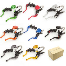FXCNC Motorcycle 7/8'' Front Brake Clutch Master Cylinder Grip Reservoir Levers