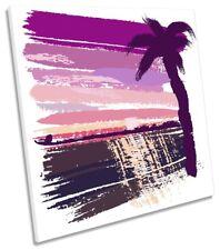 Pink Palmera Playa Lona Pared Arte Cuadrado Art Print