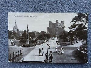 C1910 Valentine's Postcard, Castle & Grounds, Rochester, Children in Pinafores.