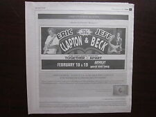 Eric Clapton & Jeff Beck Concert Newspaper Ad Poster 2/18/10 Madison Square Ga