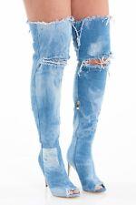 NWT Lilliana Barbara denim distressed thigh high toe boot sandal Gladiator 11 10