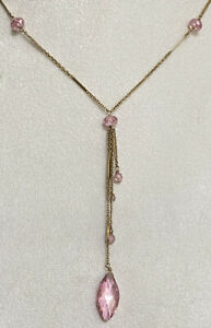SOGOLI 14/20 Gold Filled Chain & Pink Tourmaline Stones Lariat Drop Necklace
