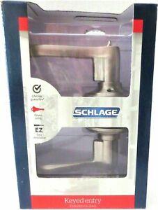 NEW Schlage Keyed Entry Flaire Lever F51 V FLA 619 Satin Nickel Lockset Kit