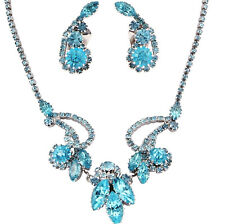 Weiss Aqua Rhinestone Necklace Earring Set Pristine Gorgeous Wedding Summer