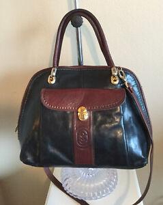 Marino Orlandi Shoulder Bag Tote Purse Handbag Black W/ Brown Trim Leather Italy
