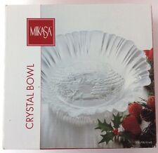 Mikasa Holiday Classics Etched Crystal 10.5 Inch Bowl NIB Germany Santa Sleigh