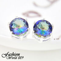 Big Promotion 3Prs 1 Lot Round Fire Mystic Topaz Gem Silver Plated Stud Earrings