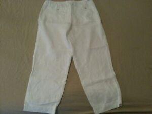 Womens Tommy Bahama Linen Pants 4 White 31x24 Capri Cropped