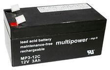 Multipower Typ MP3-12C Blei Akku Zyklenfest Pb / 12V / 3Ah / Faston 6,3 mm