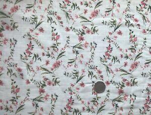 Floral Linen Rayon Print Dress Fabric - Ivory/pink/green, per 1/2 metre Free P&P