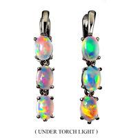 Unheated Oval Fire Opal Rainbow Full Flash 7x5mm 925 Sterling Silver Earrings