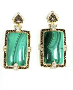 "Meher's Jewelry 2"" 106.4ctw Malachite, Smoky Quartz,  and White Zircon Earring"
