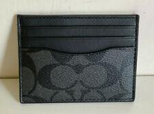 NEW! COACH SLIM ID CARD CASE SIGNATURE LOGO WALLET CHARCOAL GRAY BLACK $75 SALE
