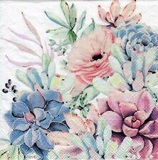 4x Decoupage PAPER NAPKINS SUCCULENT LOVE FLOWERS FLORAL