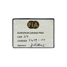 Original FIA 1997 Williams FW19 Scrutineering Passes - European