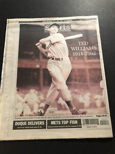2002 NY Daily News BOSTON RED SOX Ted WILLIAMS Dies 1918-2002 SPLENDED SPLINTER