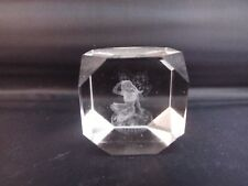 Small Square Cube Crystal Glass Fairy Laser Etched Paperweight A