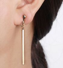 STYLISH LONG GOLD OR SILVER CLIP ON EARRINGS DROP DANGLE NON PIERCED E104 E105