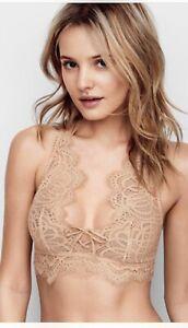 Victorias Secret Beige Nude Small Bralette Lace Brami High Neck bra