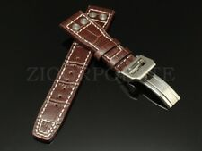 22MM Brown Alligator Leather Strap Band Deployment Buckle Clasp Fits For IWC