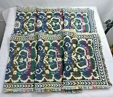 Woven Placemats with Fringe Blue Green Multi Color Cotton Lot of 6