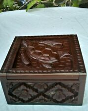 Carved Wood Sap Jewelry Box Bali Indonesia