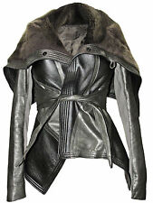RICK OWENS Silver Metallic Leather Brown Shearling Fur Collar Wrap Jacket Coat
