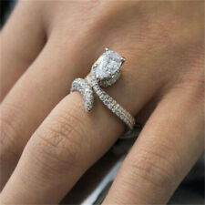 Women Men Unisex Wedding Engagement Ring Silver Plated Crystal Rings Jewelry JD