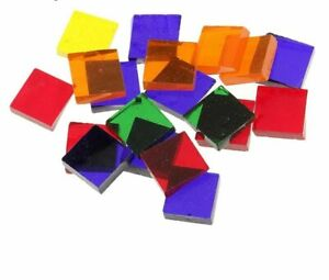 Square Clear Glass Tiles 500Pcs Assorted Colors For DIY School Mosaic Projects