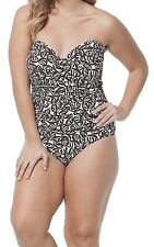 Anne Cole One Piece Sz 20W White Multi Swimsuit Ruched Geometric Print 15PO054