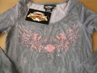 Harley-Davidson Women's Gray & Pink w/ Bling LONG sleeve shirt XS NEW 96630-07VW