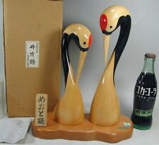 KOKESHI #212 Japanese 29cm Carve Pair Wood Crane Bird Figurine Statue Doll Japan