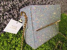 NEW LOOK Iridescent Glitter Mini Box CROSS BODY Bag CHAIN