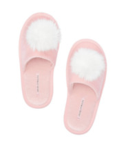 BRAND NEW VICTORIA'S SECRET FUZZY POM POM SLIPPERS PINK & White Size M