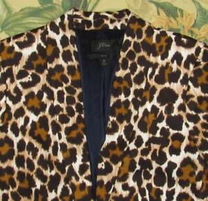 J CREW Parke Linen Blend Blazer Jacket In Leopard Print 6