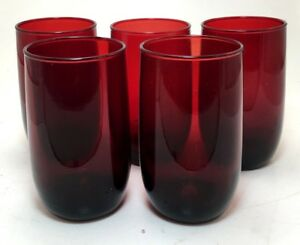 Anchor Hocking Depression Glass Royal Ruby Drinking Glass Set of 6 Tumblers