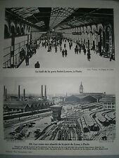 gravure France Gare Saint Lazare et gare de Lyon Paris chemin de fer