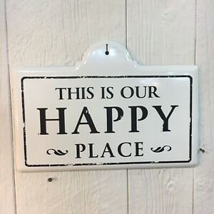 This Is Our Happy Place Metal Sign Farmhouse Home Decor Wall Art Black & White