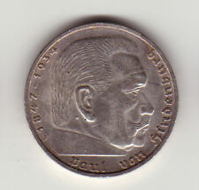 5 Mark Reichsmark 1935 F Paul von Hindenburg Deutsches Reich Silber Münze