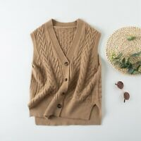 Lady Knitted Waistcoat Vest Sleeveless Cardigans V Neck Casual Button Gilet Tops