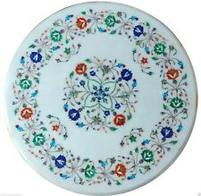 "18"" White Marble Coffee Table Top Multi Marquetry Inlay Furniture Garden Decor"