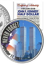 "WORLD TRADE CENTER ""NEVER FORGET"" 9/11 COLORIZED JFK KENNEDY HALF DOLLAR! COA!"