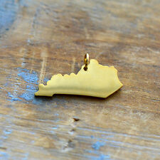 Kentucky State Charm - Brushed 24k Gold Plated Stainless Steel Pendant - Minimal