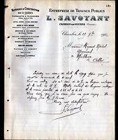 """CHAMBON-sur-VOUEIZE (23) MATERIAUX de CONSTRUCTION """"L. SAVOYANT"""" en 1912"""