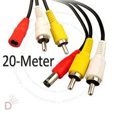 Cctv 20 metros Rca audio video AV de alimentación Cable de cámara DVR sistema ukdc